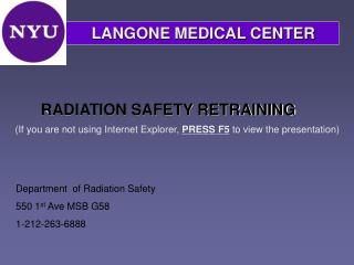 RADIATION SAFETY RETRAINING