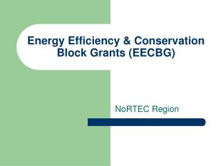 Energy Efficiency & Conservation Block Grants (EECBG)