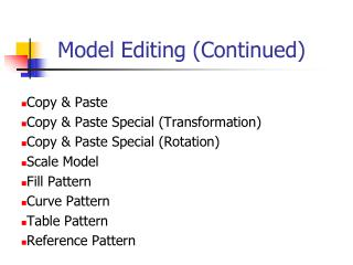 Model Editing (Continued)