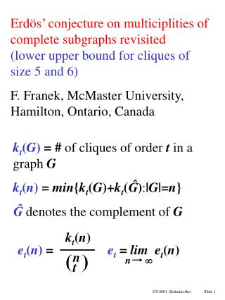 k t ( G ) = #  of cliques of order  t  in a graph  G