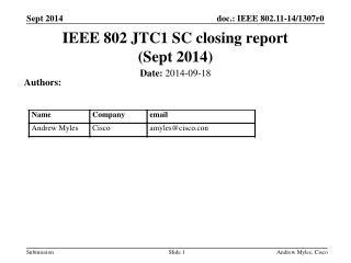 IEEE 802 JTC1 SC closing report (Sept 2014 )