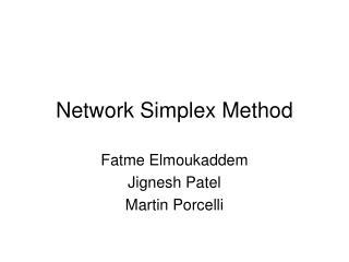 Network Simplex Method
