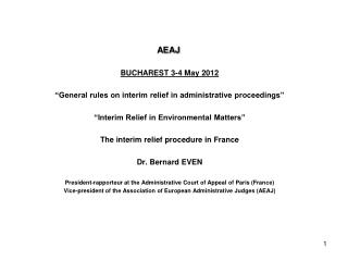 "AEAJ BUCHAREST  3-4 May 2012 ""General rules on interim relief in administrative proceedings"""