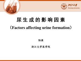 尿 生 成 的 影 响 因 素 ( Factors affecting urine formation ) 陆源 浙江大学医学院