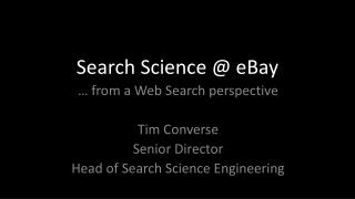 Search Science @ eBay