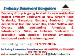 Embassy Boulevard Villa Yelahanka Bangalore @ 09999620966