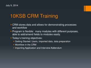 10KSB CRM Training