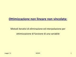 Ottimizzazione non lineare non vincolata