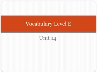 Vocabulary Level E