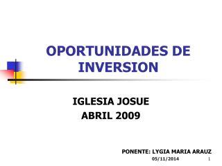 OPORTUNIDADES DE INVERSION