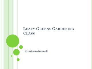 Leafy Greens Gardening Class