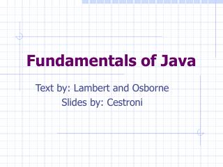 Fundamentals of Java
