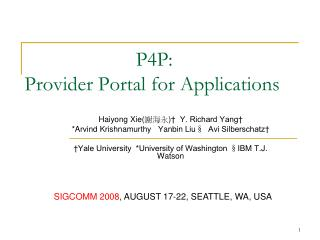 P4P :  Provider Portal for Applications