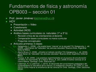 Fundamentos de física y astronomía OPB003 – sección 01