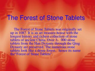The Forest of Stone Tablets