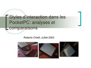 Styles d'interaction dans les PocketPC: analyses et comparaisons