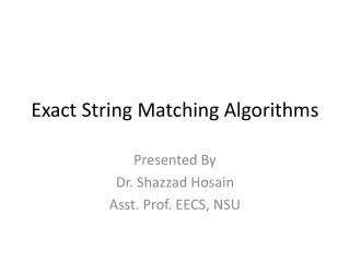 Exact String Matching Algorithms
