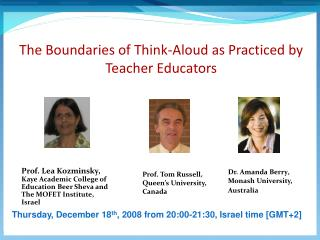 The Boundaries of Think-Aloud as Practiced by Teacher Educators