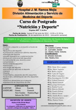 Hospital J. M. Ramos Mejía División Alimentación y Servicio de  Medicina del Deporte