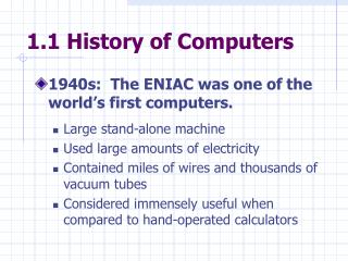 1.1 History of Computers