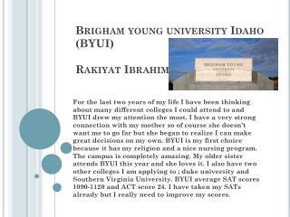 Brigham young university Idaho (BYUI) Rakiyat Ibrahim