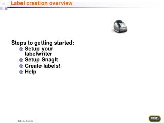 Steps to getting started: Setup your labelwriter Setup SnagIt Create labels! Help