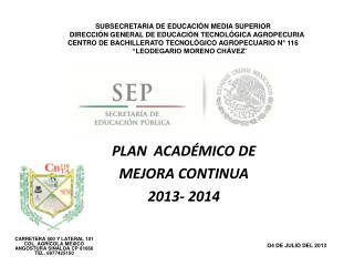 PLAN  ACADÉMICO DE  MEJORA CONTINUA  2013- 2014