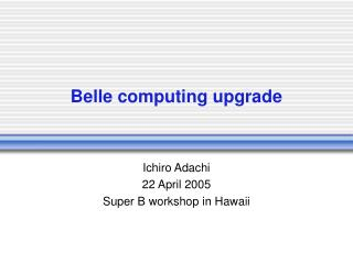 Belle computing upgrade