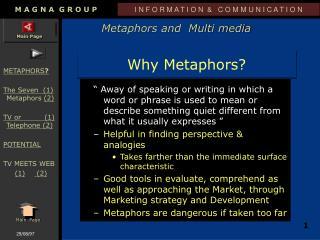 Why Metaphors?