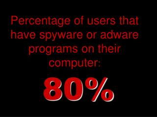 Percentage of users that have spyware or adware programs on their computer :
