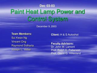 Paint Heat Lamp Power and Control System