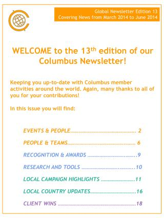 WELCOME to the  13 th edition of our Columbus Newsletter!