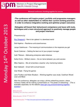 Monday 14 th  October 2013