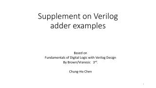 Supplement on Verilog a dder examples
