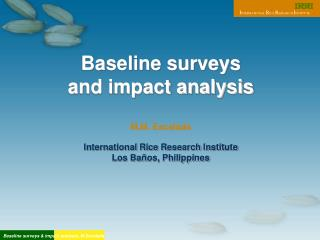 Baseline surveys  and impact analysis  M.M. Escalada  International Rice Research Institute Los Ba os, Philippines
