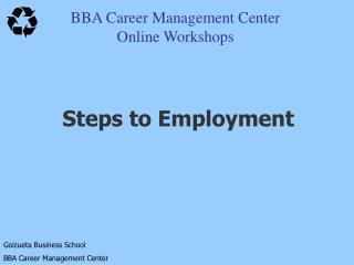 BBA Career Management Center Online Workshops