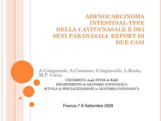 A.Colagrande, A.Cimmino, G.Ingravallo, L.Resta, M.P. Cocca UNIVERSITA' degli STUDI di BARI