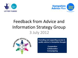 Feedback from Advice and Information Strategy Group