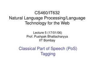 Classical Part of Speech (PoS) Tagging