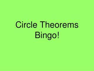 Circle Theorems Bingo