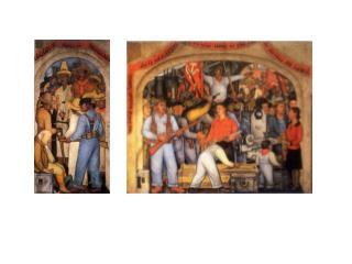 """FIGURA  A """"LA MUERTE DEL CAPITALISTA""""  Diego Rivera, Patio de las fiestas, SEP."""