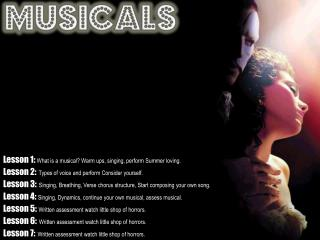 Lesson 1:  What is a musical? Warm ups, singing, perform Summer loving.