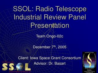 SSOL: Radio Telescope Industrial Review Panel  Presentation