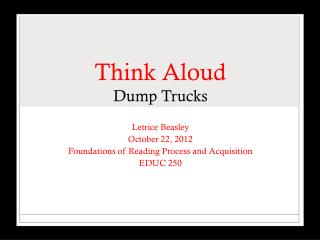 Think Aloud Dump Trucks