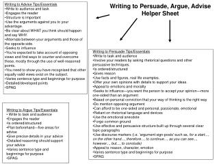 Writing to Persuade, Argue, Advise Helper Sheet