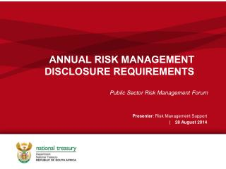 ANNUAL RISK MANAGEMENT DISCLOSURE REQUIREMENTS