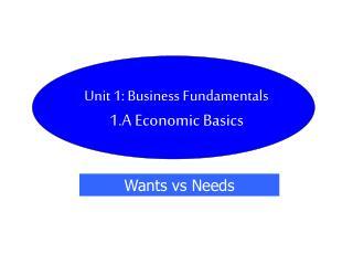 Unit 1: Business Fundamentals 1.A Economic Basics