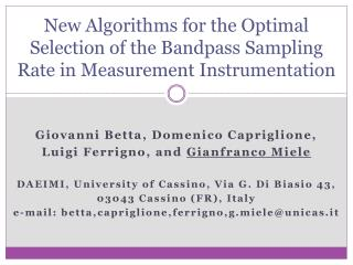 New Algorithms for the Optimal Selection of the Bandpass Sampling Rate in Measurement Instrumentation