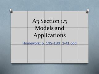A3 Section 1.3 Models and Applications