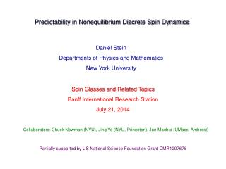 Daniel Stein Departments of Physics and Mathematics New York University